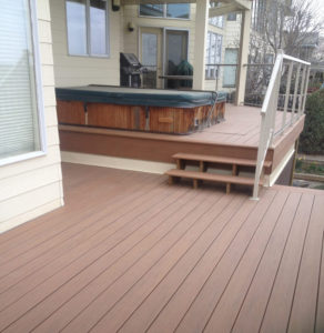 Composite deck railing stairs